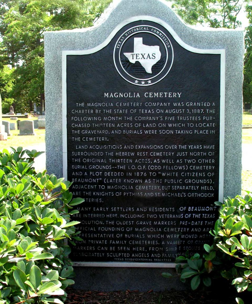 Magnolia Cemetery historic Texas Cemeteries